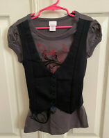 Xhilaration ~ Girl's Outfit ~ Black Vest W/Attached Top & Black Denim Skirt S/M