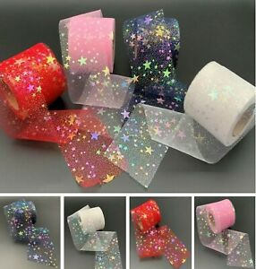 High Quality Star Organza Tulle Mesh Ribbon Pink Blue Red White 4 - 5 Meter 60mm