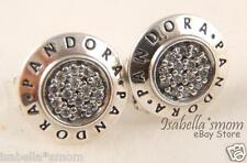 Authentic PANDORA LOGO SIGNATURE Silver Earring STUDS 290559CZ NEW w POUCH