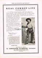 1907 G Griffith Clapham Real Cowboy Life Lyceum Chautauqua Vtg Print Ad