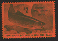 1970, US 2$ Resident Trout Stamp, MNH, New Jersey