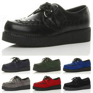 MENS LOW WEDGE PLATFORM TEDDY BOY ROCKABILLY BROTHEL CREEPERS GOTH PUNK SHOES