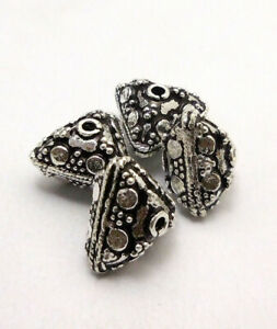 10 PCS 12X9MM SOLID COPPER BALI BEAD ANTIQUE STERLING SILVER PLATED  680 FUL-366