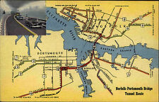 Norfolk Portsmouth Bridge Tunnel Route Virginia vintage postcard 1955 Map Karte