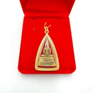 Phra LP Sothorn Gold Plated Micron Case Pendant Talisman Thai Buddha Amulet