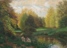 Vintage French Gouache Painting, Landscape, Nude Couple by aLake, Signed, 1938