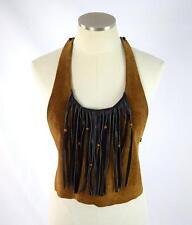 Vtg 70s Hippie Mod Suede Leather Beaded Fringe Halter Top Retro Boho Shirt Small