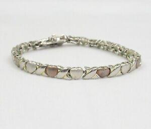 Sterling silver XO bracelet rose gold wash hugs kisses etched puffy heart link