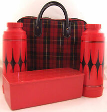 Vintage Aladdin Thermos Bottles Sandwich Box Picnic Outing Kit Red Tartan Plaid