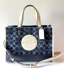 Coach Dempsey Signature Denim Jacquard with Leather Carryall Tote Denim NWT $378