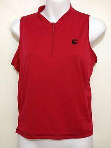 Cannondale Womens S Red Sleeveless Bike Cycling Jersey Shirt 1/2 Zip Chrono