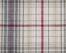 Burgundy, Gray, Tan Madras Cotton. 2½ Yards, Plaid Fabric. Woven Tartan