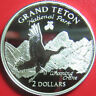 1998 COOK ISLANDS $2 SILVER PROOF WHOOPING CRANE GRAND TETON NATIONAL PARK RARE!