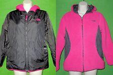 The North Face junior reversible jacket size XL/18 hood black pink fleece zip