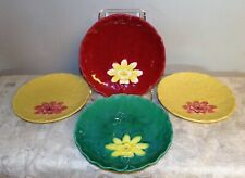 Antique Zell German Majolica Lily Pad Waterlily Flower plate 4 pieces