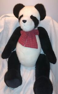 "2001 Boyd's Bears ""Pandora"" 40 inch Panda Bear Jumbo Huge Red Bow Jointed"