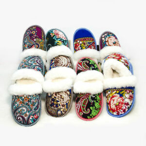 Russian Fur Slippers | 100% Natural Sheepskin | Winter Socks Wool Pavlovo Posad