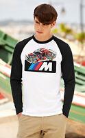 BMW Men Women Long Sleeve T-Shirt Beemer Unisex Tee Shirt Baseball Raglan Top 4