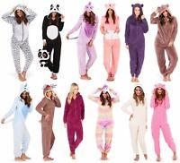 Womens Ladies Animals Novelty One Piece Soft Fleece Loungewear Pyjama All in One