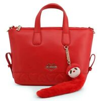 LOVE MOSCHINO Red Leather Handbag Removable Shoulder Strap New 100% Authentic