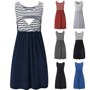 Women Pregnant Maternity Nursing Breastfeeding Summer Sleeveless Midi Dress