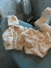 NEW CREAM HAND KNITTED CARDIGANS AND A HAT 0/3 MONTHS