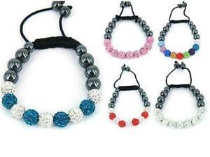 Shamballa bracelet clay crystal disco ball friendship sparkling bead stringless
