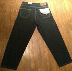 Zara Men Jeans Cropped Sz 31loose laxe Denim Dark Blue contrast stitch NWT