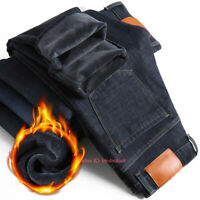 Mens Winter Thermal Jeans Fleece Lined Denim Pant Stretch Straight Leg Trousers