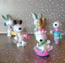 Easter PEANUTS Snoopy & Woodstock 5 PVC Toy Figures United Feature Syndicate
