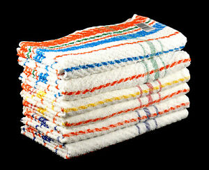 Cheap Thin Small Bath Towels Striped 100% Cotton Pack of 3 Budget Quality