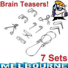 7 Set Brain Teaser Metal IQ Puzzle Ring Test Mind Game Child Magic Toy Gift Cute