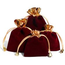 1PCS Wine Red Jewelry Pouches Velour Velvet Drawstring Gift Bags 7x9cm