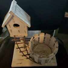 Very cool WOODEN BIRD HOUSEwith round stockade