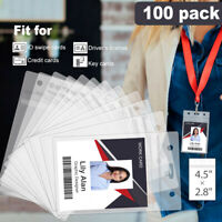 100x ID Card Badge Holder Clear Cover Case Vertical Plastic Protector Waterproof