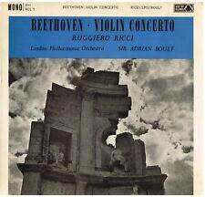Beethoven: Concerto For Violin/Ruggiero Ricci, Adrian Boult, London Po. - LP