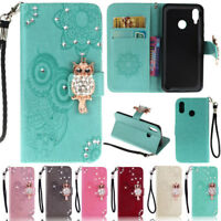 Bling Owl Wallet Leather Flip Case Cover For Huawei P30 Lite P20 Lite P Smart Z