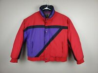 Vintage Retro 80s Winter Jacket Fluffy Red Purple Size Extra Large XL