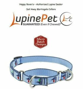 """Lupine Lifetime Training Martingale Dog Collar 3/4"""" LIMITED - Boats - SAIL AWAY"""