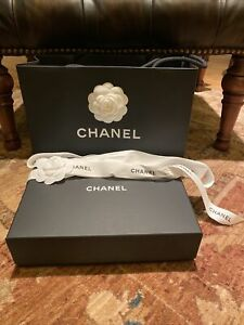 Chanel Box 10x3x7 Inches W/ Camellias, Ribbon And Shopping Bag