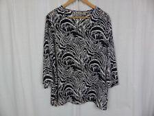 Chico's Women's Sheer Zebra Print V Neck Blouse Shirt Black White Size 3 XL