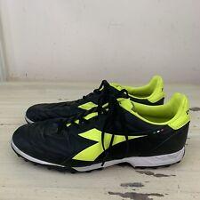 DIADORA - Black & Neon Yellow Indoor Turf Football Soccer Shoes, Mens Sz 12.5