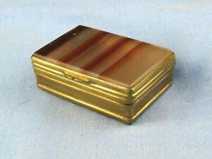 CARNELIAN BANDED AGATE STONE VICTORIAN ANTIQUE TRINKET JEWELLERY SNUFF PILL BOX