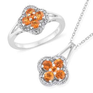 Salamanca Fire Opal, Cambodian Zircon Platinum over SS ring 9 and pendant