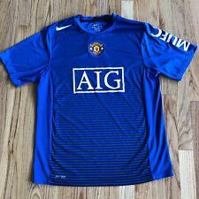 Manchester United Blue Nike Dri-Fit Jersey Shirt AIG Large Mint