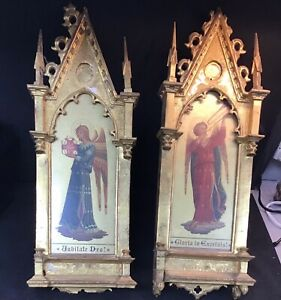 Antique Italian Gothic Altar Painting Icon After Fra Angelico - A Pair
