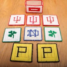 Vintage IU Notre Dame Purdue Plastic Canvas Coasters Home Made Indiana Sports