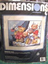 "Dimensions Needlepoint Kit Nip ""American Bears"" #2377, 14"" x 11"""