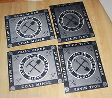 "Coal Miner Mining Table Placemats Pick & Shovel Design 4pc 11"" x 13""  Plastic"