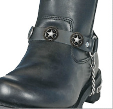 BIKER SHERIFF STARS LEATHER SILVER BOOT CHAIN